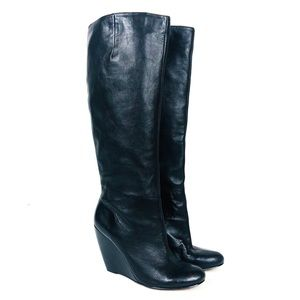 NINE WEST Black Leather Tall Wedge Boot 9